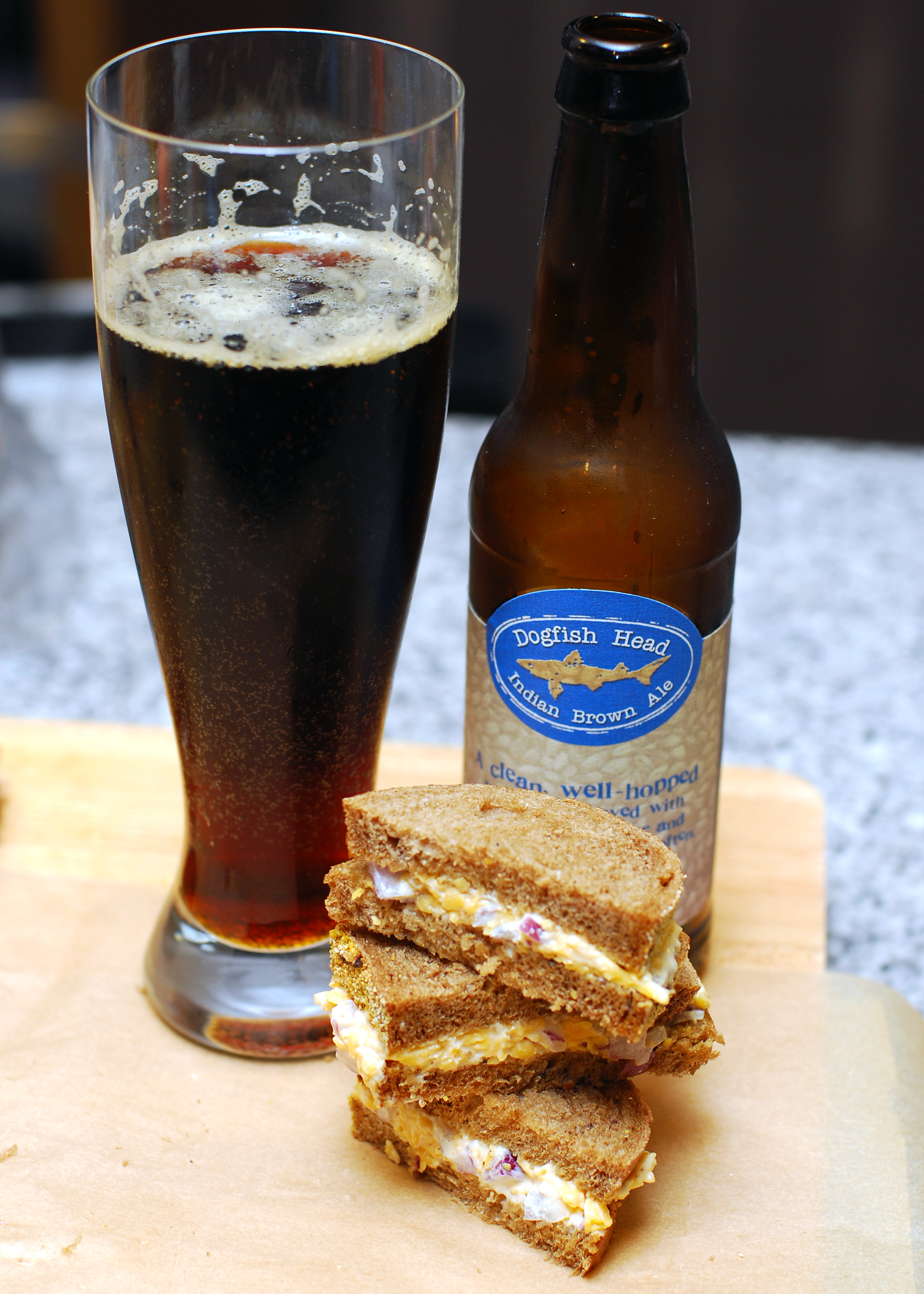 Cheese and onion sandwiches pair well with a cold beer.